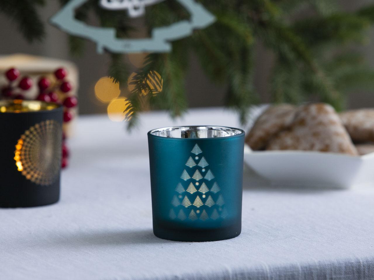 Świecznik świąteczny szklany ozdobny dekoracyjny na tealight Altom Design Choinka turkusowy