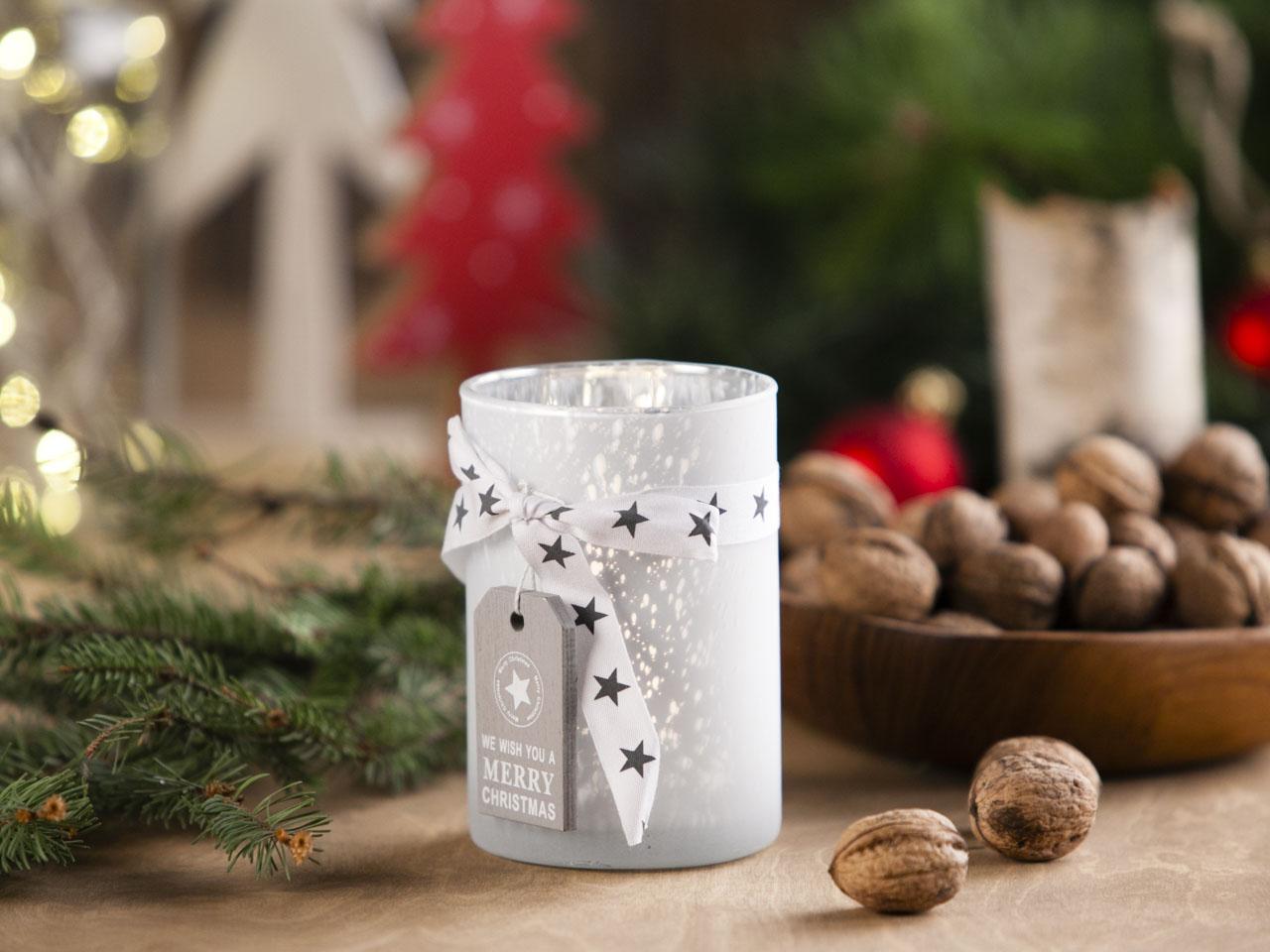 Świecznik szklany z kokardką świąteczny Boże Narodzenie Altom Design Biały 8x12 cm