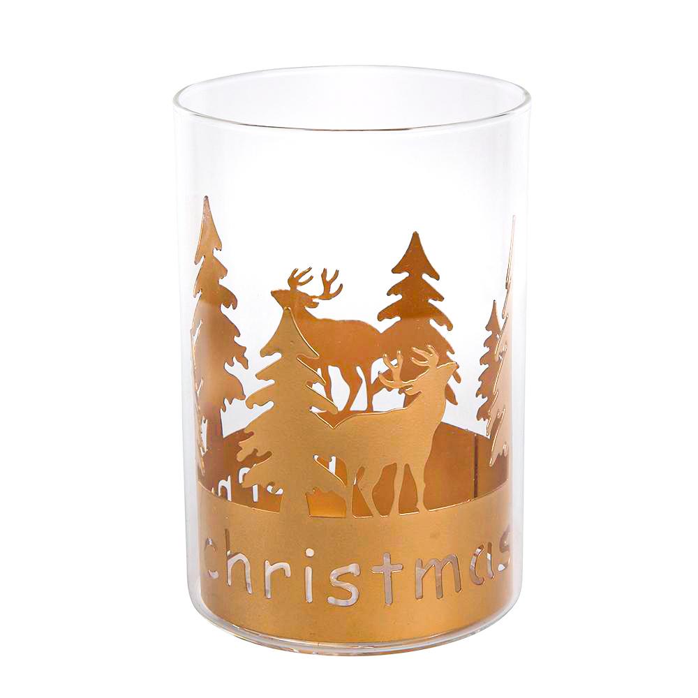 Świecznik szklany / dekoracja świąteczna Boże Narodzenie Altom Design Merry Xmas złota metalowa osłonka 10x15 cm
