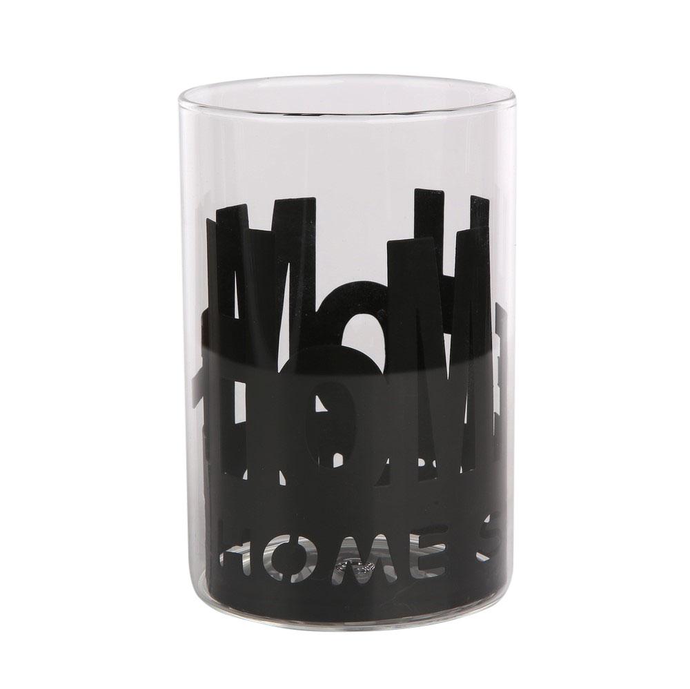 Świecznik szklany w metalowej osłonce Altom Design Home Czarny 10x15 cm