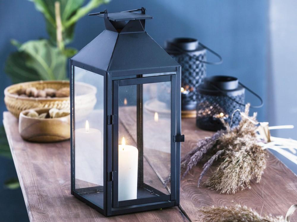 Latarenka / latarnia / lampion ozdobny wiszący Altom Design metalowa kwadratowa czarna 16,5x37,5 cm