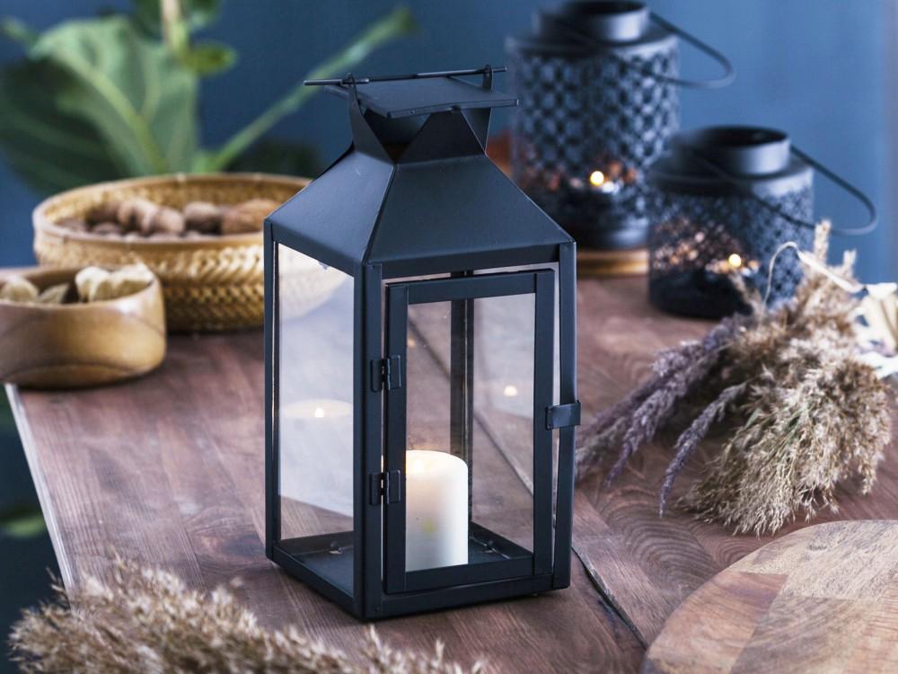 Latarenka / latarnia / lampion ozdobny wiszący Altom Design metalowa kwadratowa czarna 13x28 cm