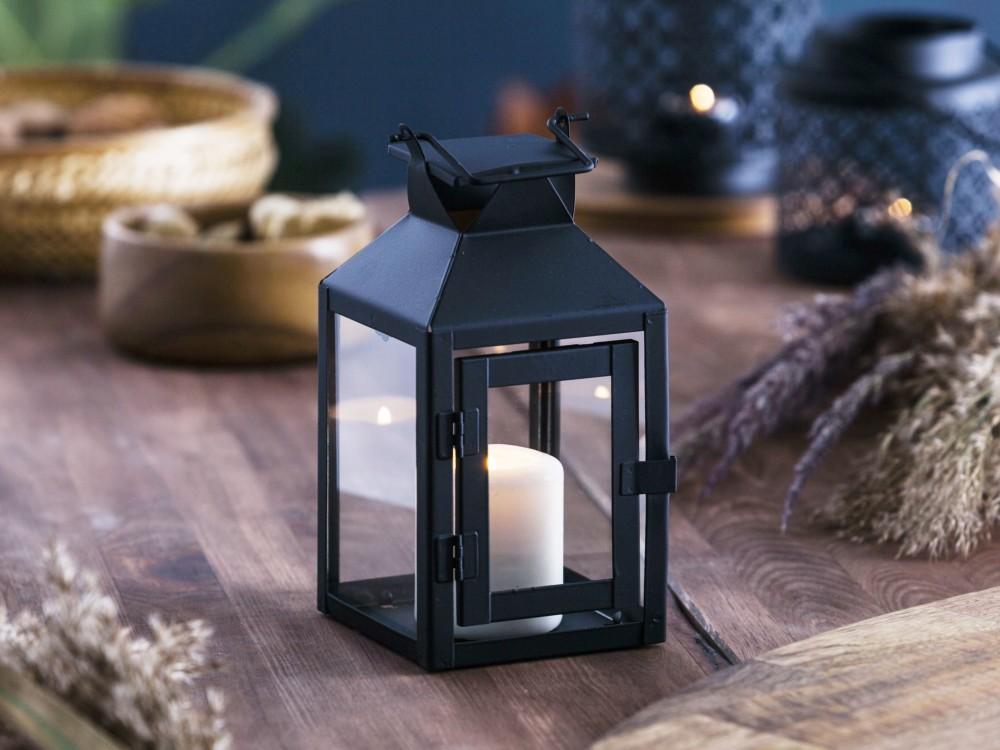 Latarenka / latarnia / lampion ozdobny wiszący Altom Design metalowa kwadratowa czarna 10,5x21 cm