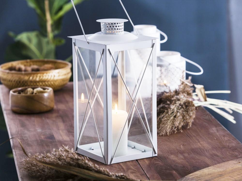 Latarenka / latarnia / lampion ozdobny wiszący Altom Design metalowa kwadratowa biała 16,8x34,5 cm