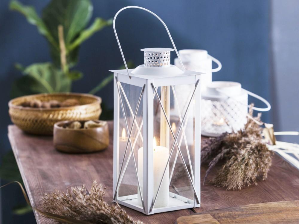 Latarenka / latarnia / lampion ozdobny wiszący Altom Design metalowa kwadratowa biała 13,8x31 cm