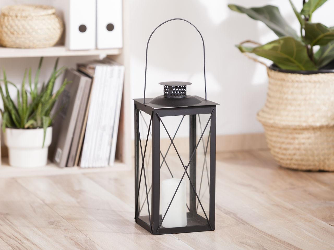 Latarenka / latarnia / lampion ozdobny wiszący Altom Design metalowa kwadratowa czarna 16,8x34,5 cm