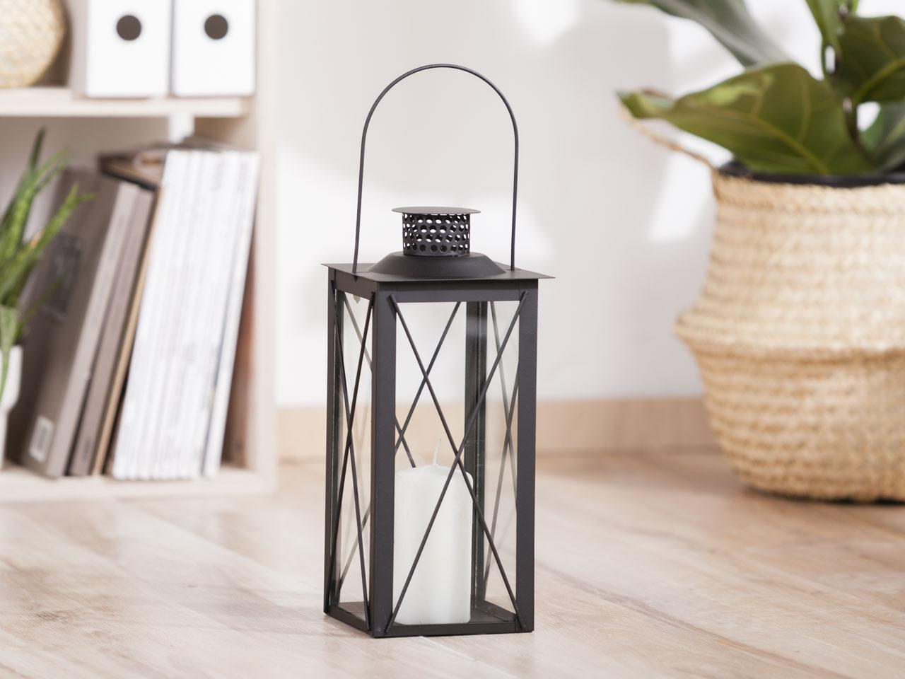 Latarenka / latarnia / lampion ozdobny wiszący Altom Design metalowa kwadratowa czarna 13,8x31 cm