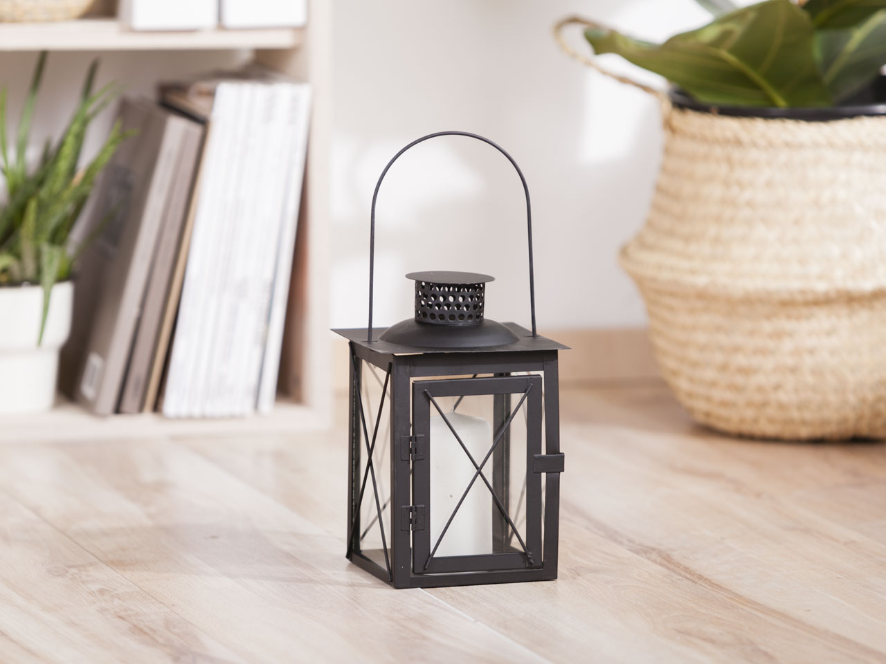 Latarenka / latarnia / lampion ozdobny wiszący Altom Design metalowa kwadratowa czarna 15x20 cm