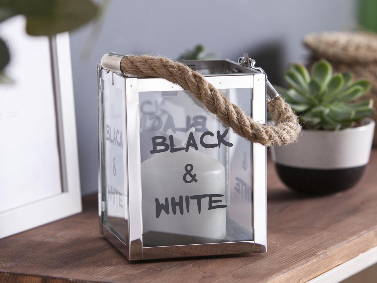 Latarenka / latarnia / lampion ozdobny szklany / metalowy Altom Design Black N White 11x15 cm