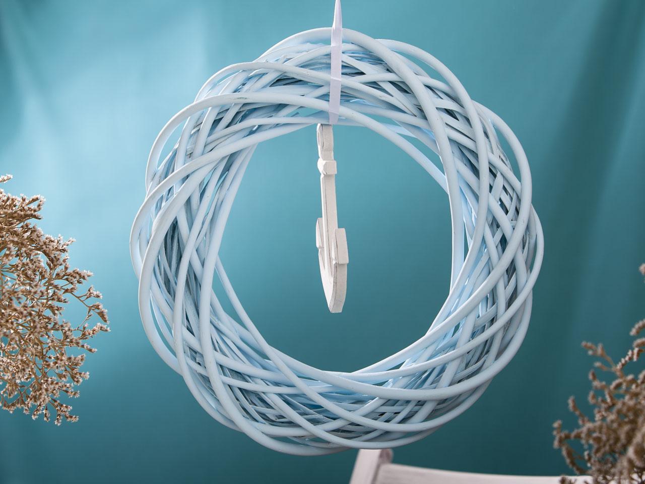 Ring koło ozdobne wiklinowe zawieszka biała kotwica Altom Design kolekcja Marine