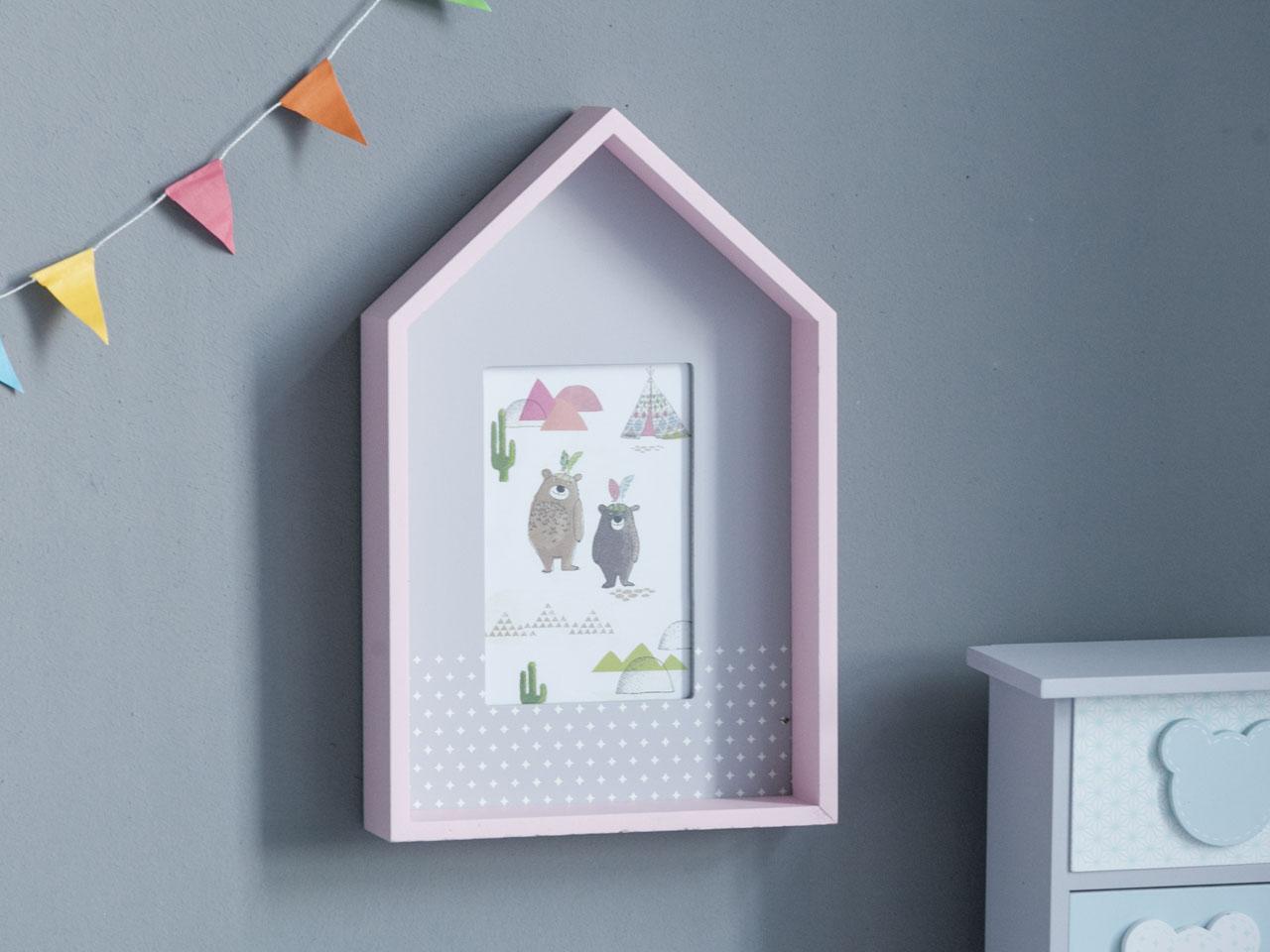 Ramka na zdjęcie drewniana prostokątna Altom Design Misie Różowa 19x29,5x5 cm