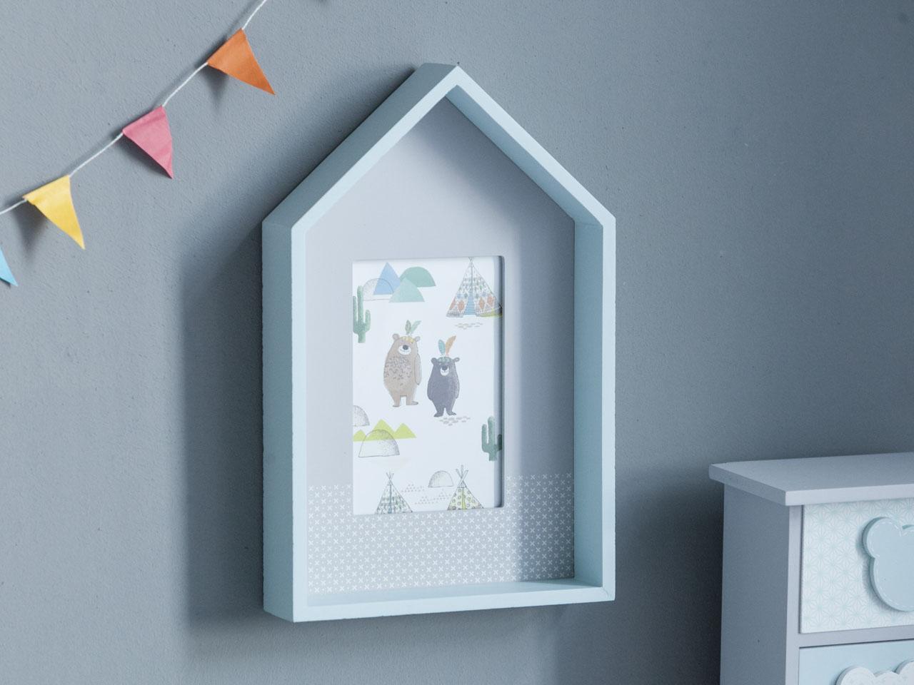 Ramka na zdjęcie drewniana prostokątna Altom Design Misie Niebieska 19x29,5x5 cm