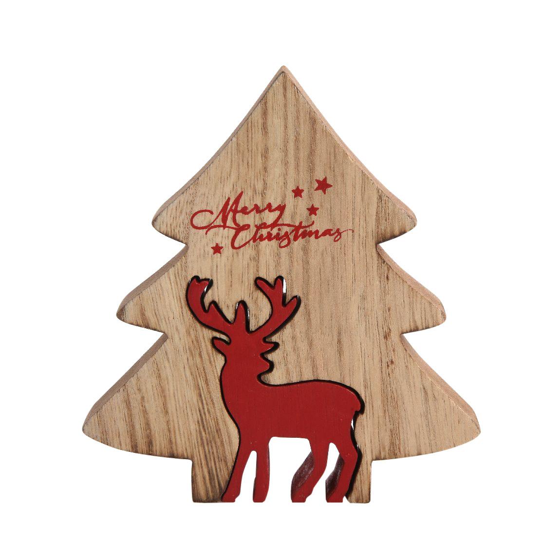 Figurka drewniana świąteczna Boże Narodzenie Altom Design Renifer z choinką 16x17x2 cm