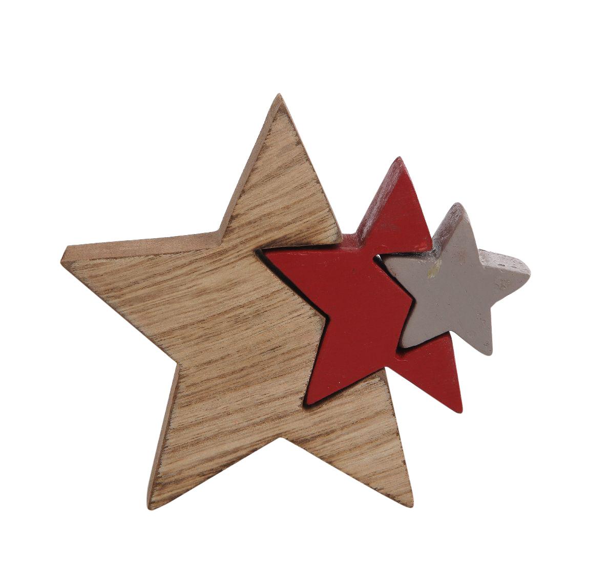 Figurka drewniana świąteczna Boże Narodzenie Altom Design Gwiazda potrójna 11x11,5 cm