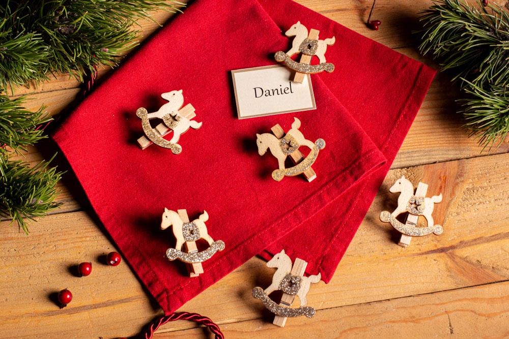 Ozdoba świąteczna / spinka drewniana Boże Narodzenie Altom Design Koniki 4x4,5 cm (6 sztuk)