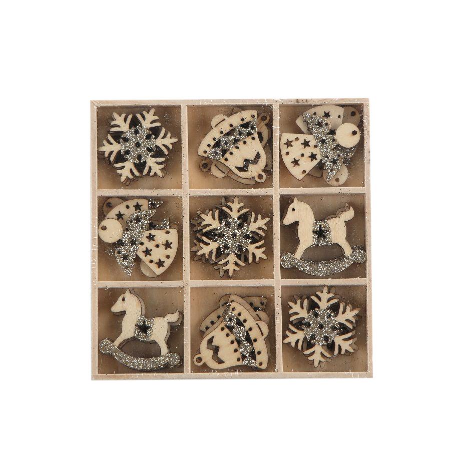 Ozdoba świąteczna / drewniane zawieszki na choinkę Boże Narodzenie Altom Design 3,5 cm (9 wzorów / 27 sztuk)