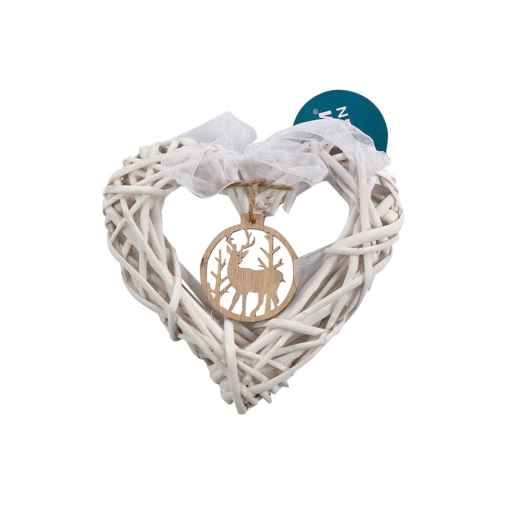 Ozdoba świąteczna / wiklinowa zawieszka na choinkę Boże Narodzenie Altom Design serce z renifer 15 cm