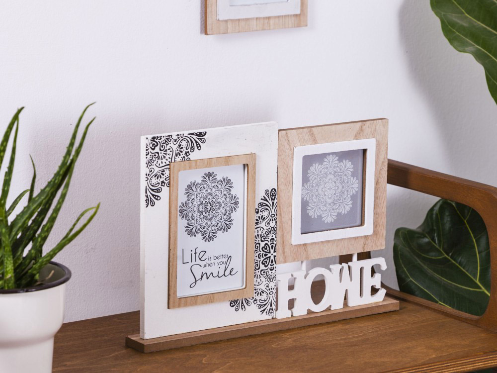Ramka do zdjęć podwójna drewniana Altom Design Mandala 32x23 cm (na zdjęcie 10x15 cm i 10x10 cm)