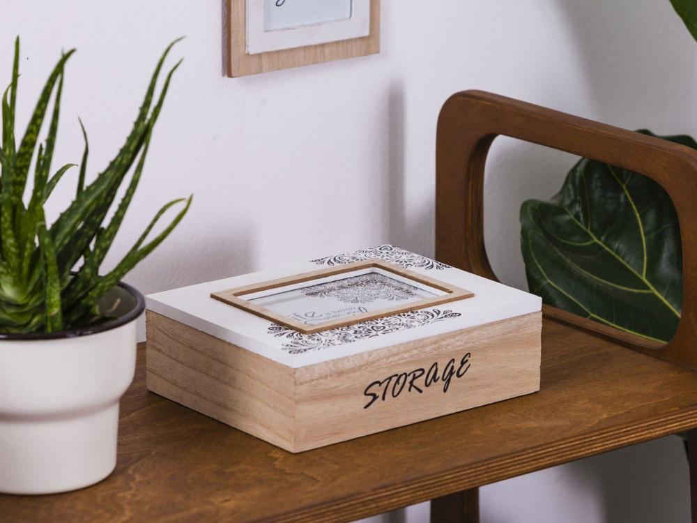 Pudełko na biżuterię / drobiazgi drewniane z ramką na zdjęcie Altom Design Mandala 22x17x7 cm (na zdjęcie 10x15 cm)