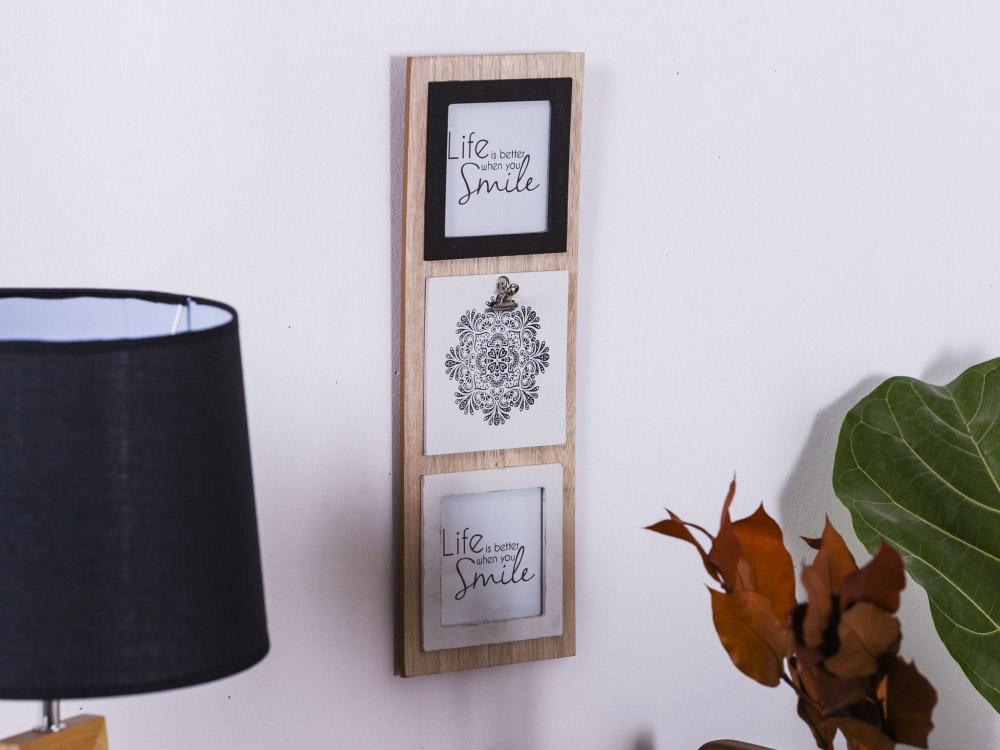Ramka do zdjęć drewniana / Tablica Altom Design Mandala 15x42 (na zdjęcie 10x10 cm)