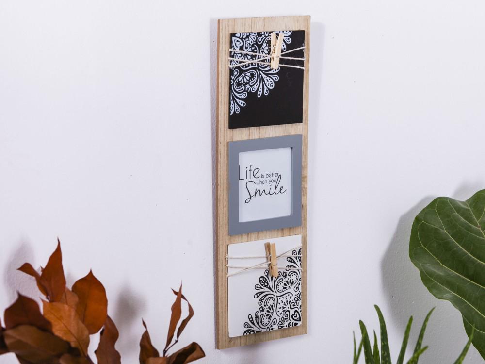 Ramka do zdjęć drewniana / Tablice Altom Design Mandala 15x42 (na zdjęcie 10x10 cm)