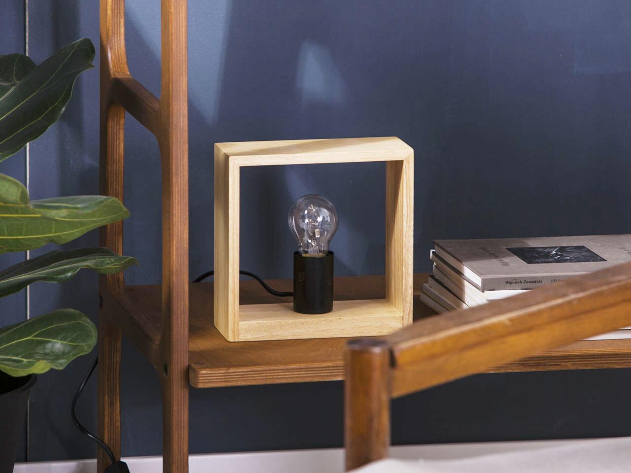 Lampa stołowa drewniana Altom Design Industrial 20x8x20 cm