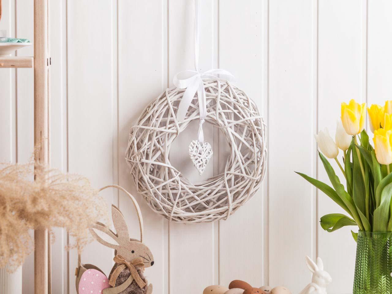White willow ring dia 28 cm mix colour of ribbon