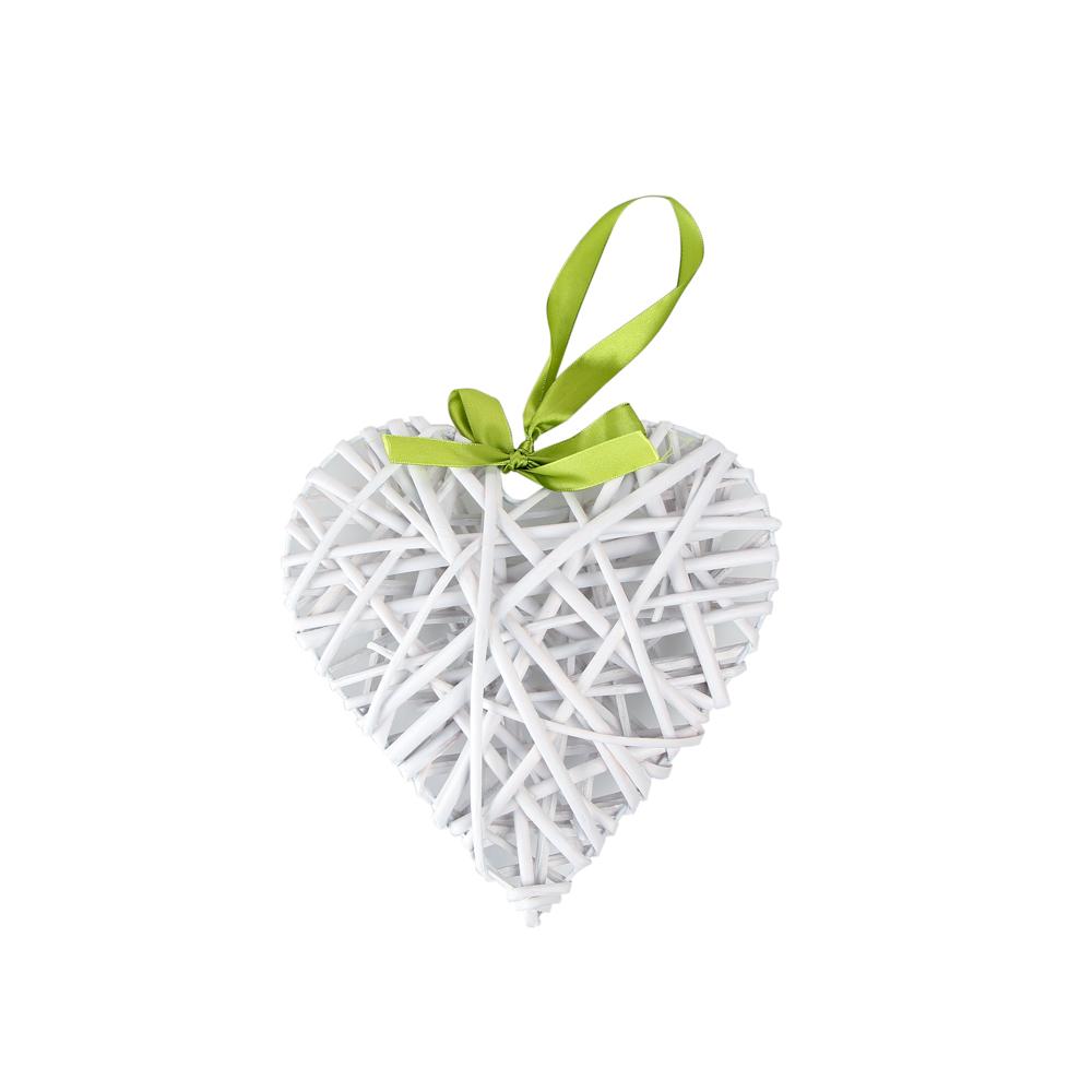 Ozdoba / zawieszka wiklinowa Altom Design serce białe 22x26 cm