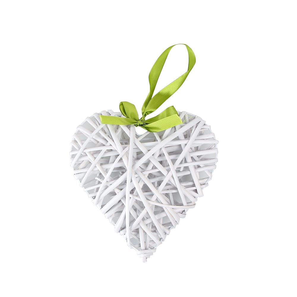 Ozdoba / zawieszka wiklinowa Altom Design serce białe 27x30 cm