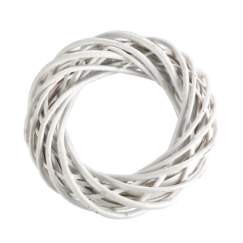 Ozdoba / zawieszka wiklinowa koło Altom Design białe 25 cm