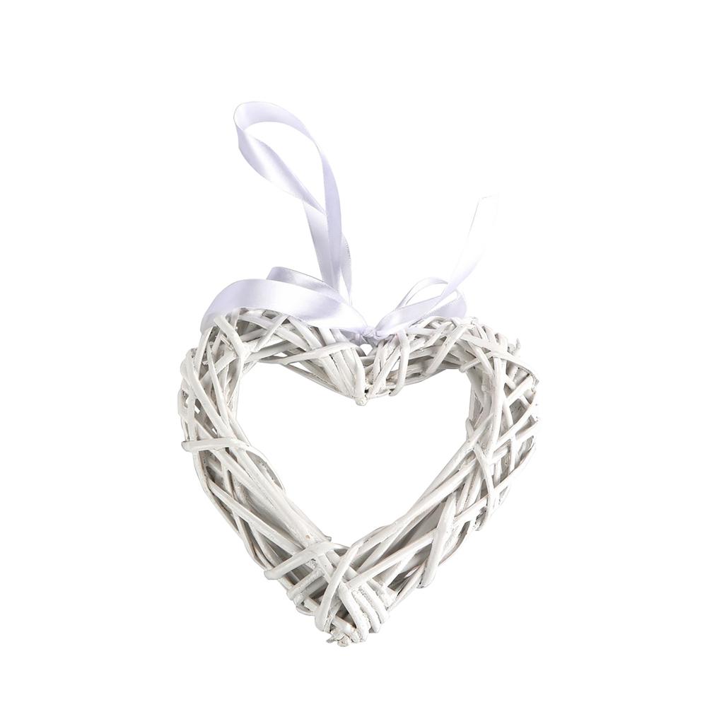 Ozdoba / zawieszka wiklinowa Altom Design serce białe z kokardką 20 cm