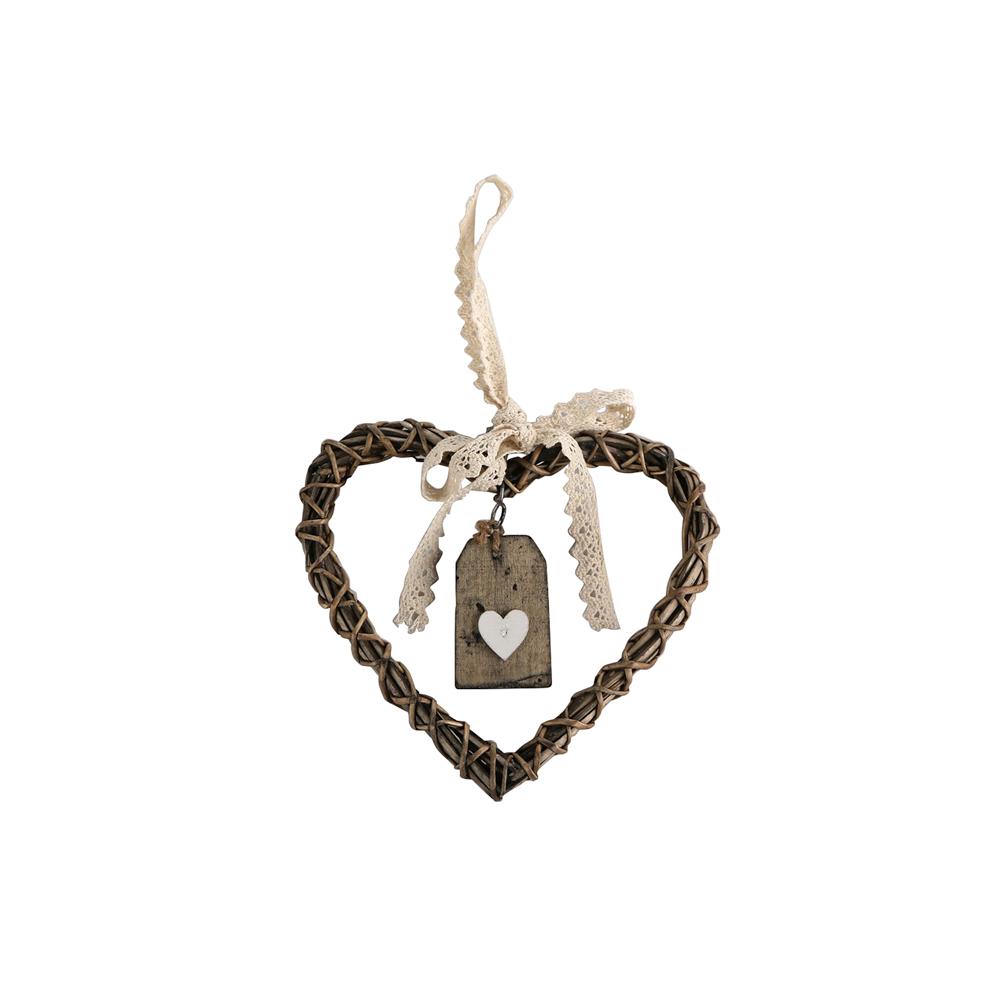 Ozdoba / zawieszka wiklinowa Altom Design serce brązowe 20 cm