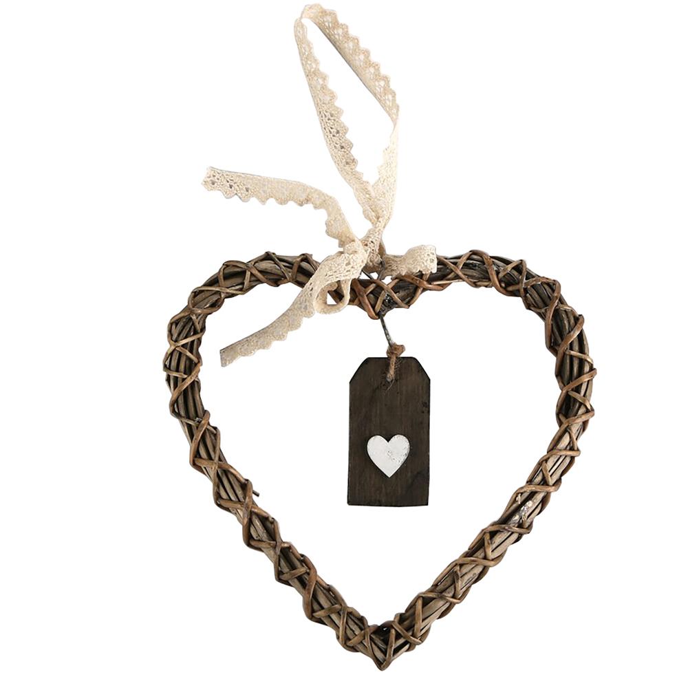 Ozdoba / zawieszka wiklinowa Altom Design serce brązowe 30 cm