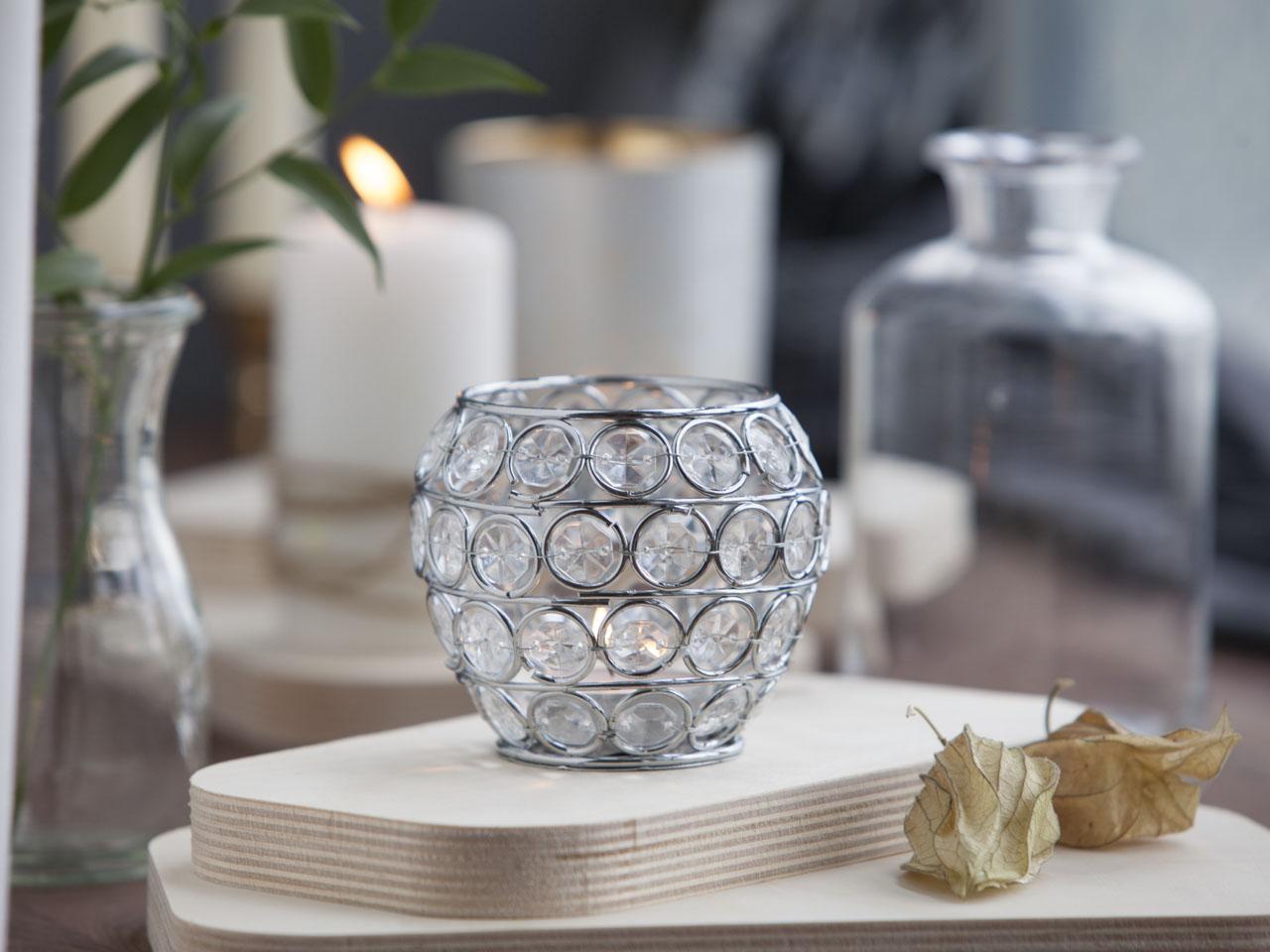 Świecznik ozdobny dekoracyjny z kryształkami na tealight Altom Design kula 8,5 cm