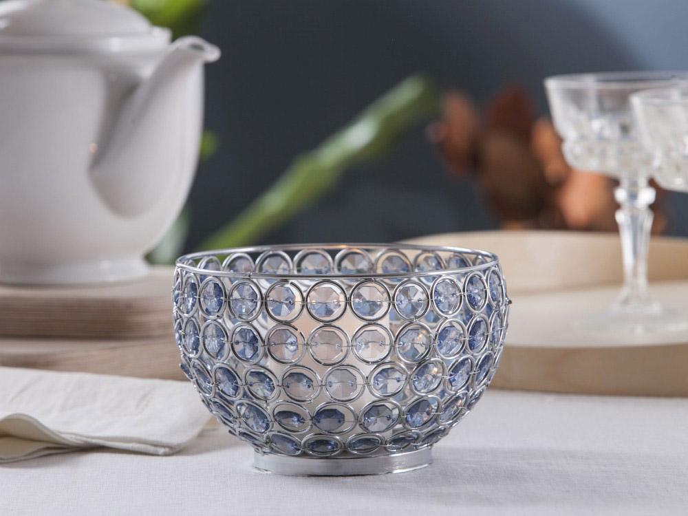 Świecznik metalowy z kryształkami okrągły Altom Design Sky 11x15 cm