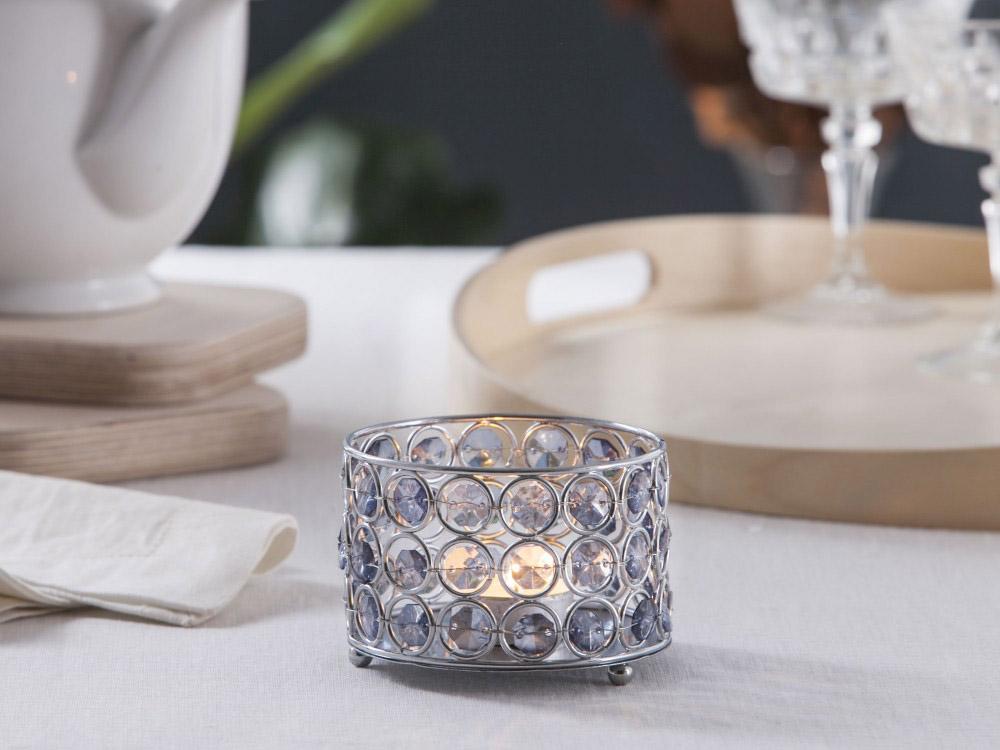 Świecznik metalowy z kryształkami Altom Design Sky 10,5x7 cm