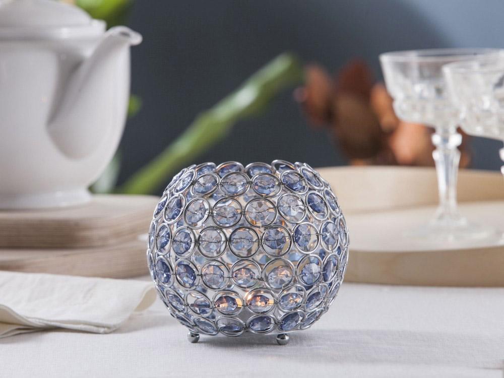 Świecznik metalowy z kryształkami kula Altom Design Sky 11,5x13 cm