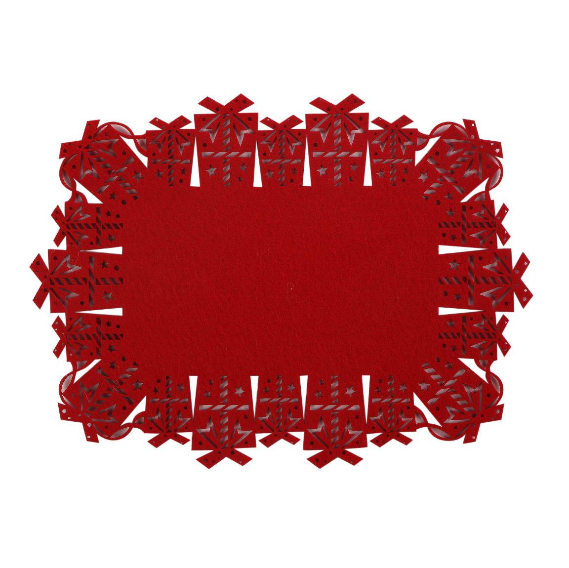 Podkładka / mata na stół filcowa świąteczna Boże Narodzenie Altom Design czerwona prezenty 30x40 cm