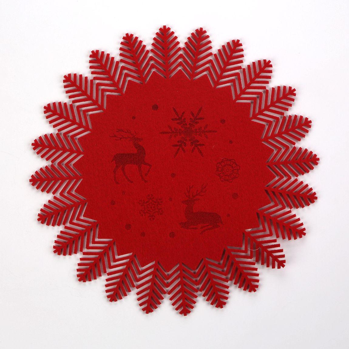 Podkładka / mata na stół filcowa Altom Design czerwona jodełka 35 cm