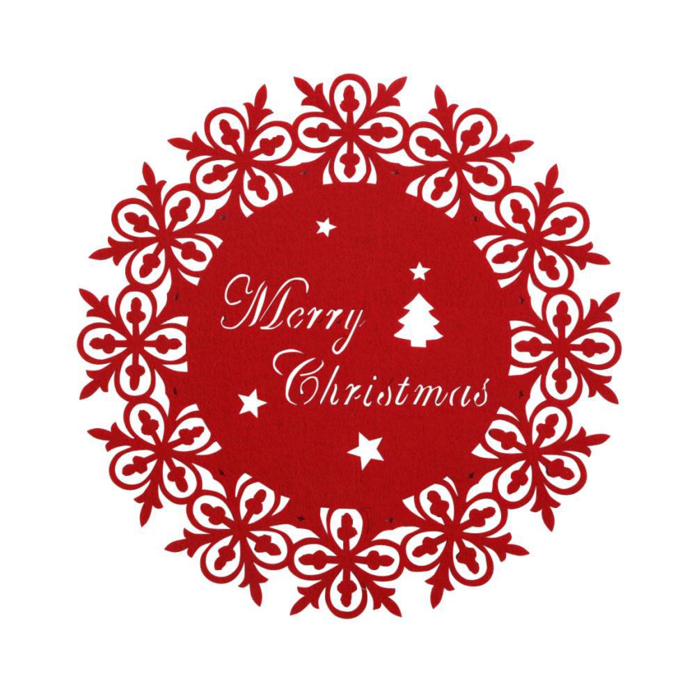 Podkładka / mata na stół filcowa świąteczna Boże Narodzenie Altom Design czerwona śnieżynka 30 cm