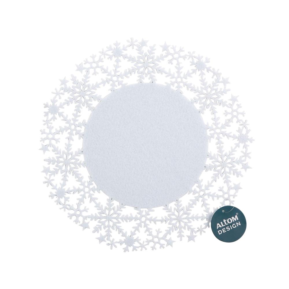 Podkładka / mata na stół filcowa świąteczna Boże Narodzenie Altom Design śnieżynka 35 cm