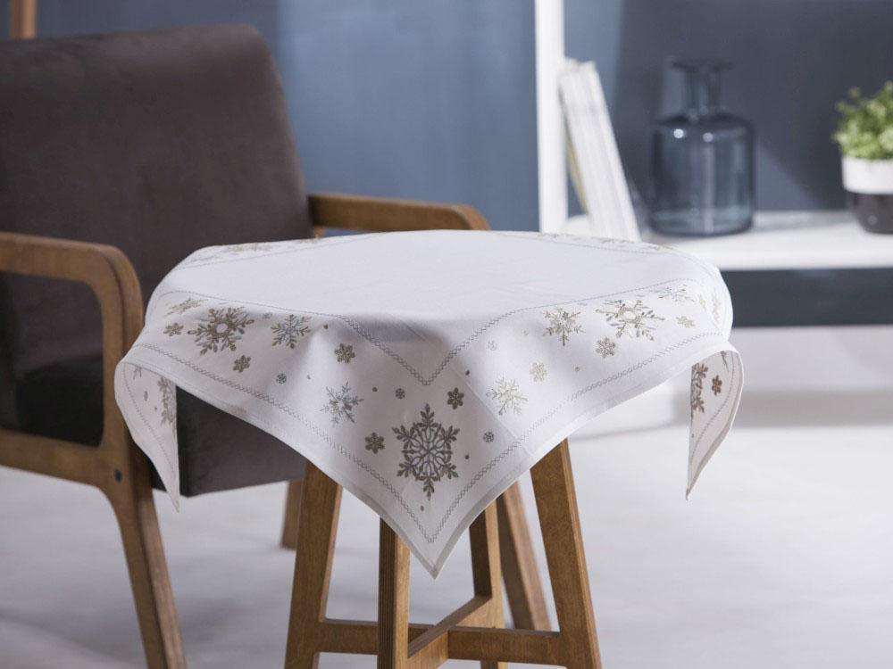 Obrus / serweta na stół świąteczna Boże Narodzenie Altom Design Ecru śnieżynki ze złotym wykończeniem 80x80 cm