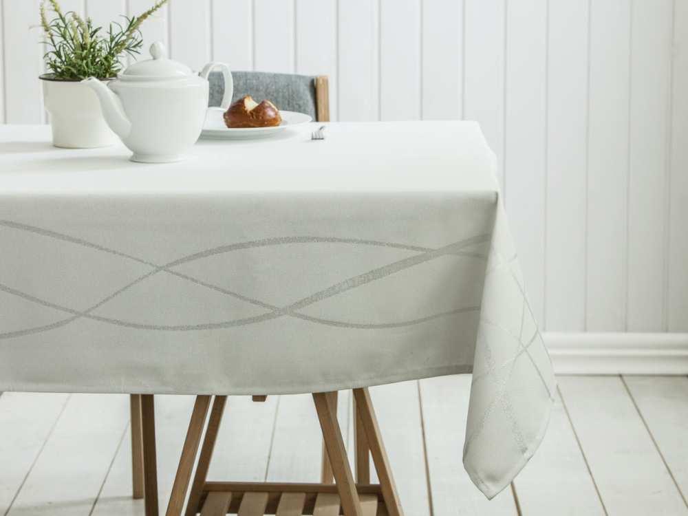 Obrus na stół Altom Design dek. Paski Srebrny 140x180 cm