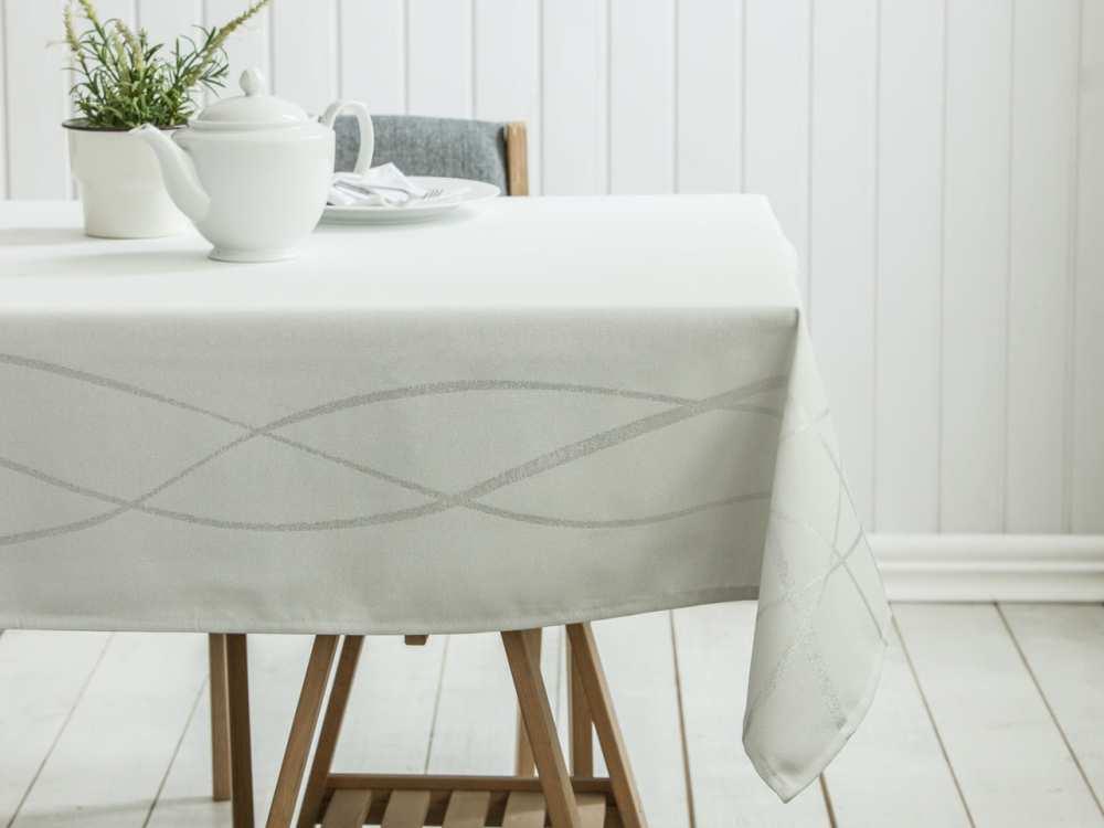 Obrus na stół Altom Design dek. Paski Srebrny 150x240 cm