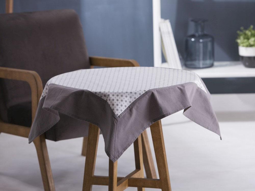 Obrus / Serweta na stół Altom Design Biały z dekoracją Szara Rozeta 80x80 cm