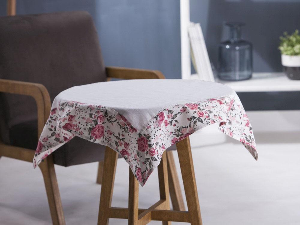 Obrus / Serweta na stół Altom Design Biały / Obszycie Róża 80x80 cm