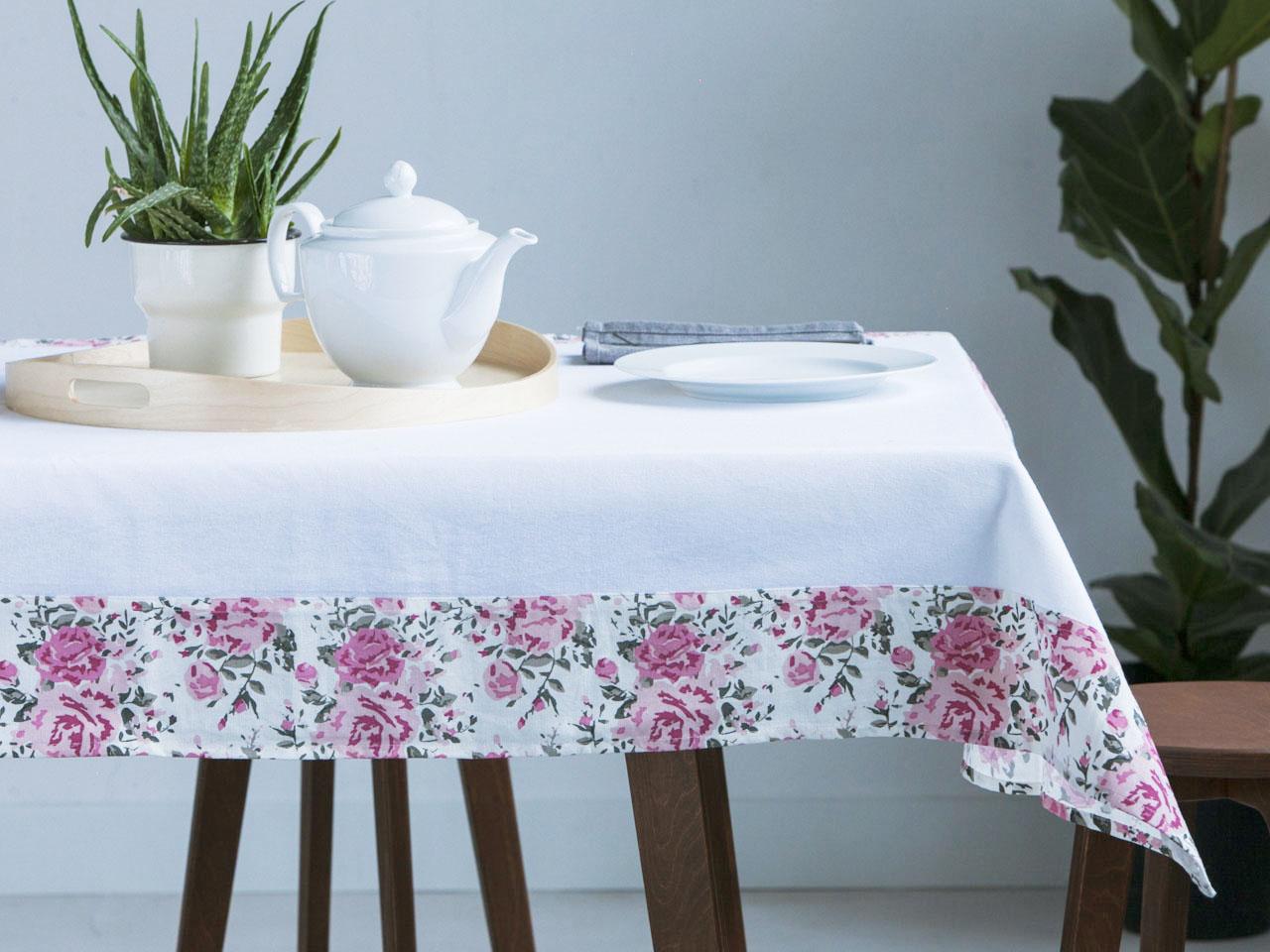 Obrus na stół Altom Design Biały / Obszycie róża 110x160 cm