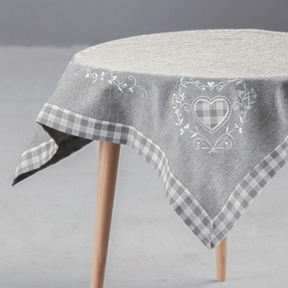 Obrus na stół Altom Design Serca w kratkę szary 80x80 cm