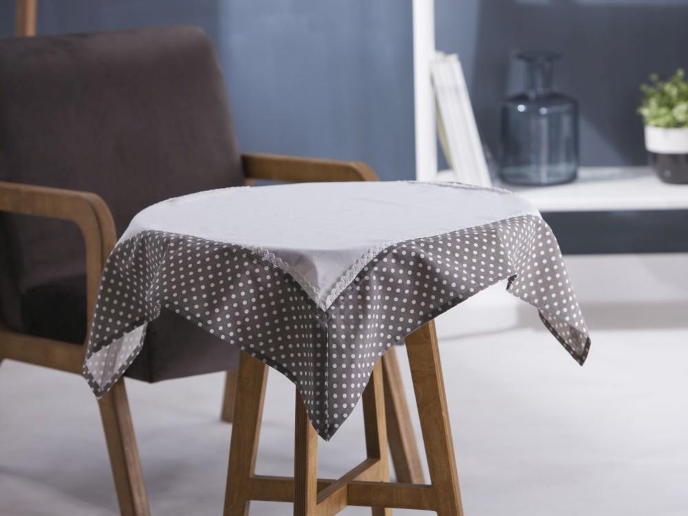 Obrus / Serweta na stół Altom Design Biały / Obszycie Kropki 80x80 cm