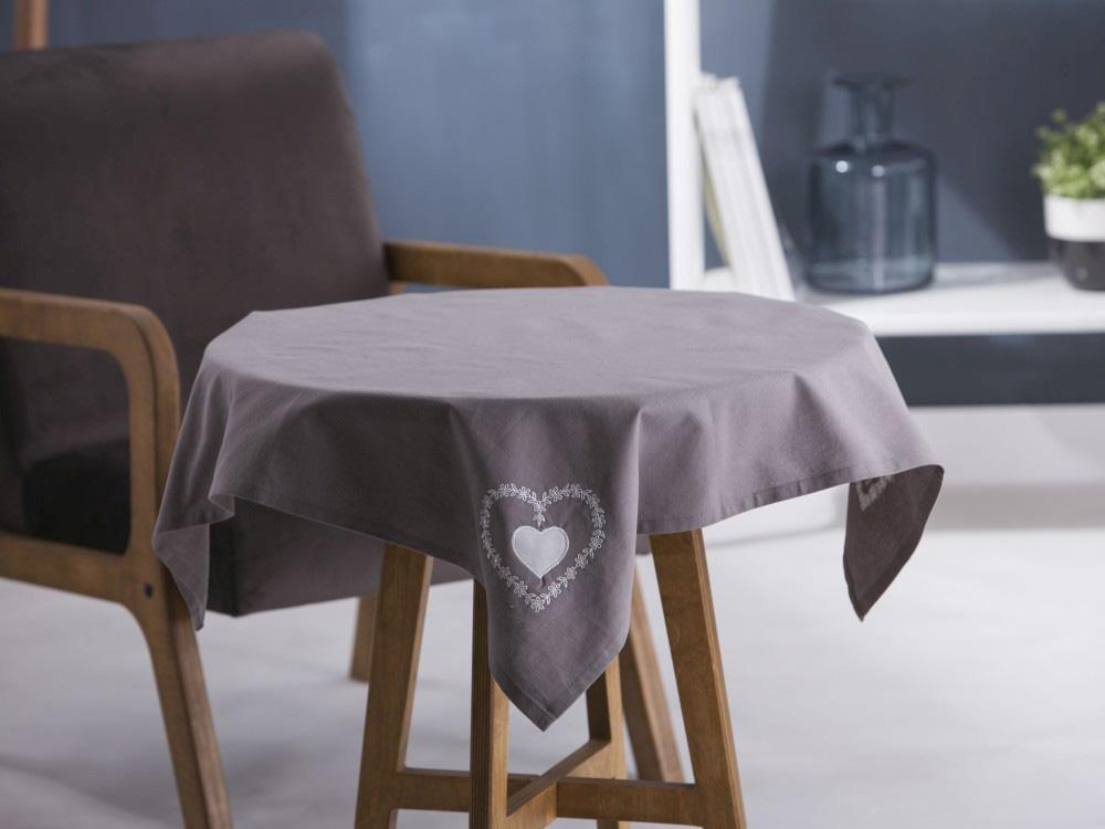 Obrus / Serweta na stół Altom Design Szary / Haftowane Białe Serca 80x80 cm